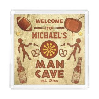 Bandeja De Acrílico Caverna engraçada do homem com seu costume