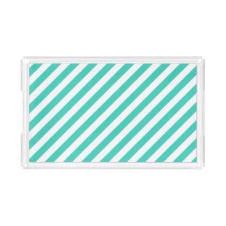 Bandeja De Acrílico Cerceta e teste padrão diagonal branco das listras