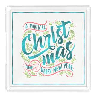Bandeja De Acrílico Cerceta mágica ID441 da tipografia do Natal