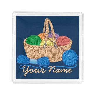 Bandeja De Acrílico Cesta colorida de confecção de malhas