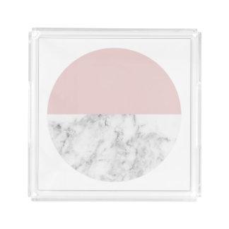 Bandeja De Acrílico círculo geométrico cor-de-rosa e de mármore claro