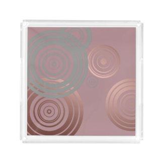 Bandeja De Acrílico círculos geométricos cinzentos do ouro cor-de-rosa