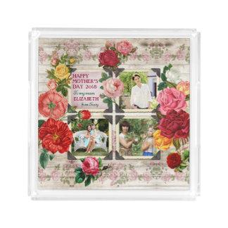 Bandeja De Acrílico Colagem da foto do vintage de Instagram dos rosas