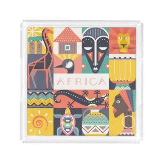Bandeja De Acrílico Colagem simbólica africana da arte