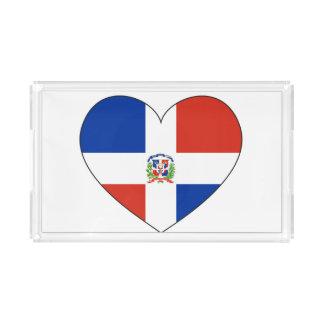 Bandeja De Acrílico Coração da bandeira da República Dominicana