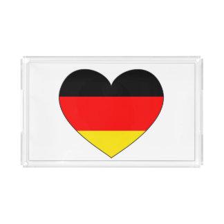 Bandeja De Acrílico Coração da bandeira de Alemanha