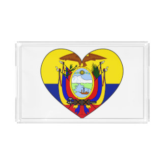 Bandeja De Acrílico Coração da bandeira de Equador