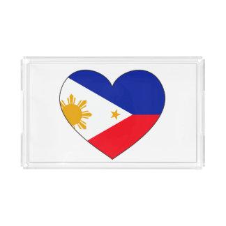 Bandeja De Acrílico Coração da bandeira de Filipinas