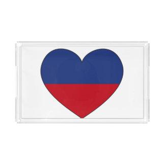 Bandeja De Acrílico Coração da bandeira de Haiti