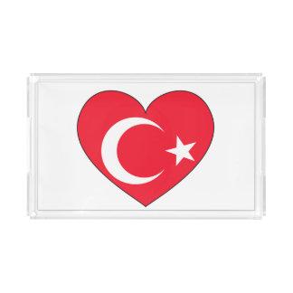 Bandeja De Acrílico Coração da bandeira de Turquia