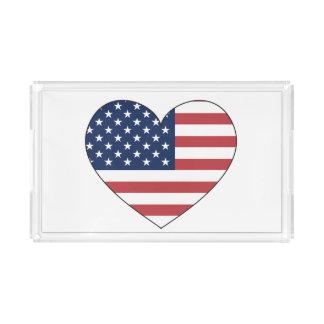 Bandeja De Acrílico Coração da bandeira dos Estados Unidos
