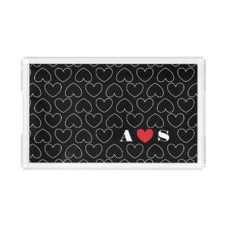 Bandeja De Acrílico Corações do teste padrão do amor com iniciais dos