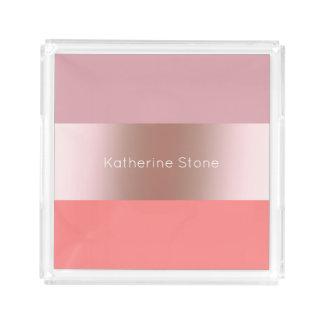 Bandeja De Acrílico Coral cor-de-rosa do rosa do ouro do pintinho