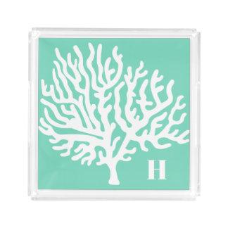 Bandeja De Acrílico Coral do mar branco & verde litorais do vidro do