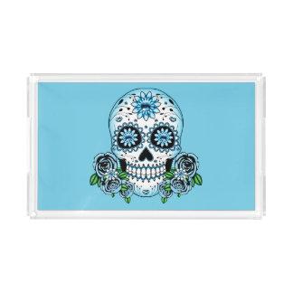 Bandeja De Acrílico Crânio azul do açúcar