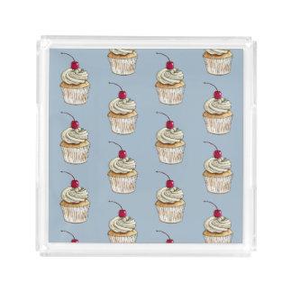 Bandeja De Acrílico Cupcake da aguarela com chantiliy e cereja
