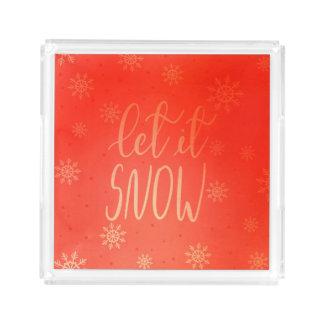 Bandeja De Acrílico Deixais lhe para nevar vermelho brilhante do