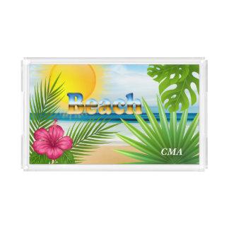 Bandeja De Acrílico Design da praia do nascer do sol