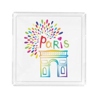 Bandeja De Acrílico Design de néon de Paris France | Arco do Triunfo |