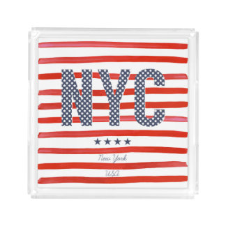 Bandeja De Acrílico Design do vermelho de NYC |, o branco & o azul