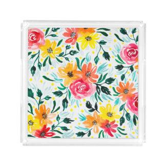 Bandeja De Acrílico Design floral cor-de-rosa amarelo bonito da