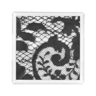 Bandeja De Acrílico Detalhe preto bonito do tecido do laço do vintage
