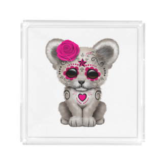 Bandeja De Acrílico Dia cor-de-rosa do leão Cub inoperante