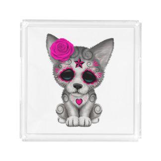 Bandeja De Acrílico Dia cor-de-rosa do lobo Cub inoperante