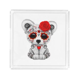 Bandeja De Acrílico Dia vermelho do urso polar do bebê inoperante
