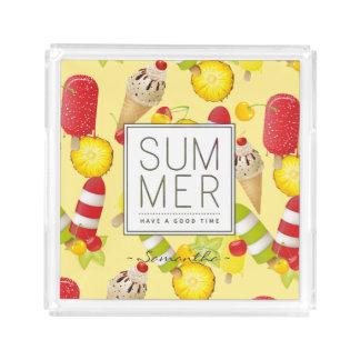 Bandeja De Acrílico Divertimento das frutas e do gelado do verão