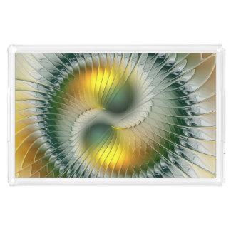 Bandeja De Acrílico Do abstrato verde do amarelo de Yin Yang Fractal