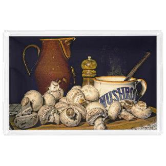 Bandeja De Acrílico Do cogumelo de sopa da cozinha vida ainda