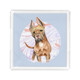 """Bandeja De Acrílico Do """"orelhas coelho"""" pintura da aguarela do cão de"""