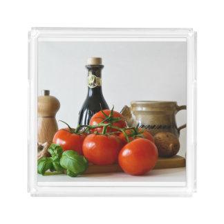 Bandeja De Acrílico Do tomate vida ainda