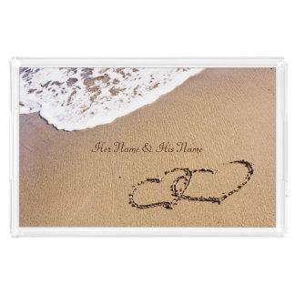 Bandeja De Acrílico Dois corações na areia