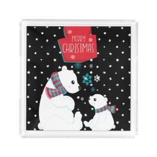 Bandeja De Acrílico Dois Felizes Natais dos ursos polares