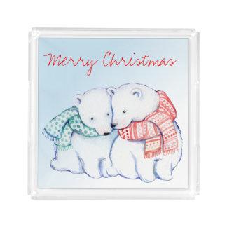 Bandeja De Acrílico Dois Felizes Natais dos ursos polares que servem a