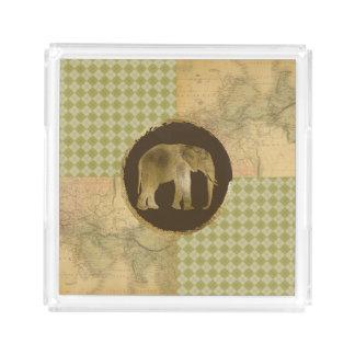 Bandeja De Acrílico Elefante africano no mapa e no Argyle
