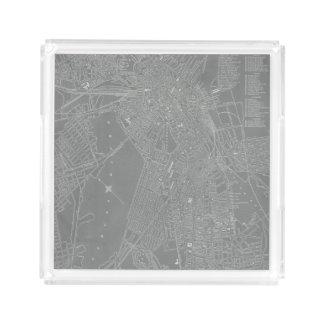 Bandeja De Acrílico Esboço do mapa da cidade de Boston