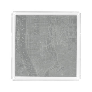 Bandeja De Acrílico Esboço do mapa da Nova Iorque