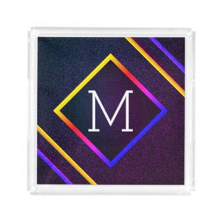 Bandeja De Acrílico Esboços à moda do roxo & do arco-íris com