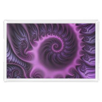 Bandeja De Acrílico Espiral roxa cor-de-rosa legal da arte do Fractal