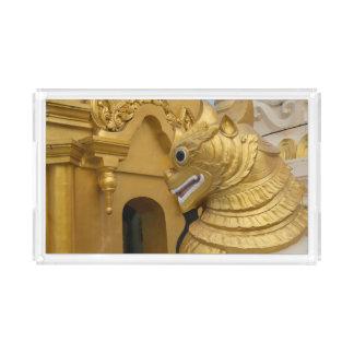 Bandeja De Acrílico Estátua dourada do leão no templo