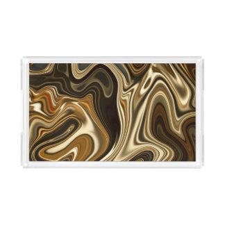 Bandeja De Acrílico Estilo de mármore lindo - marrom morno