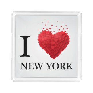 Bandeja De Acrílico Eu amo corações de New York