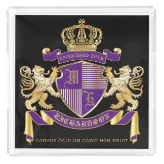 Bandeja De Acrílico Faça seu próprio emblema da coroa do monograma da