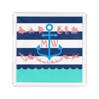 Bandeja De Acrílico Faça suas próprias listras náuticas da âncora do