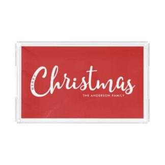 Bandeja De Acrílico Feliz Natal moderno do VERMELHO |