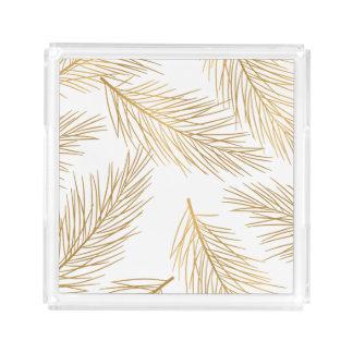 Bandeja De Acrílico Feriado das agulhas do pinho do ouro