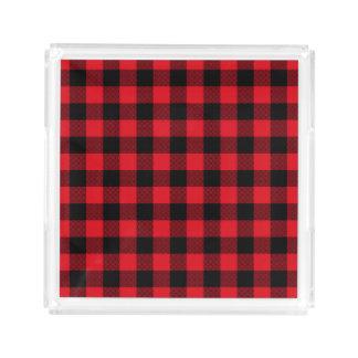 Bandeja De Acrílico Feriado vermelho rústico do teste padrão da xadrez